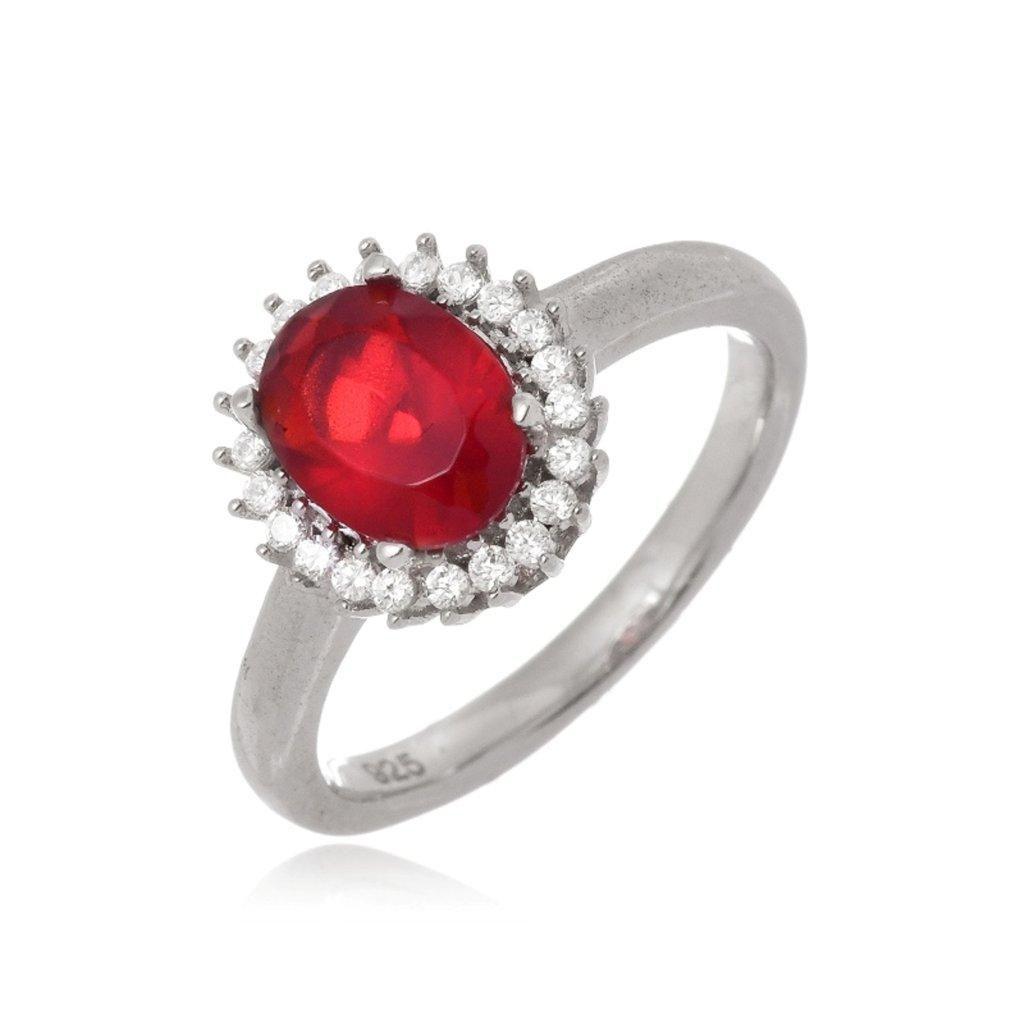Anel Le Diamond Rubi Oval Vermelho
