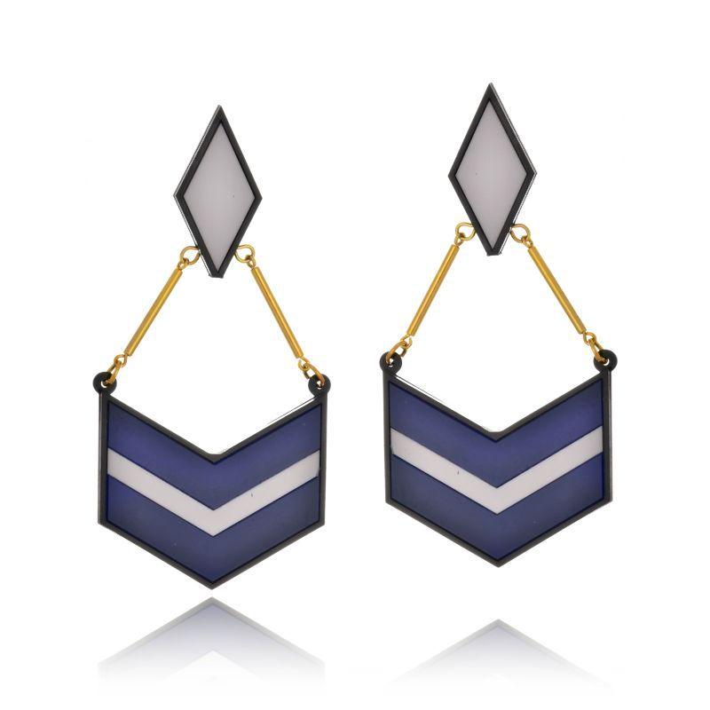 Brinco Le Diamond Geométrico Azul