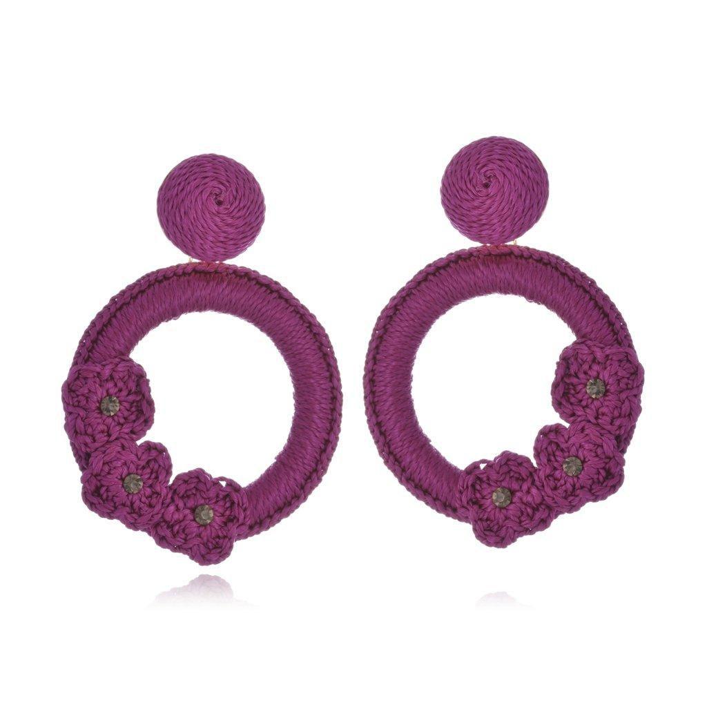 Brinco Le Diamond Liza Crochê com 3 Flores Lilás