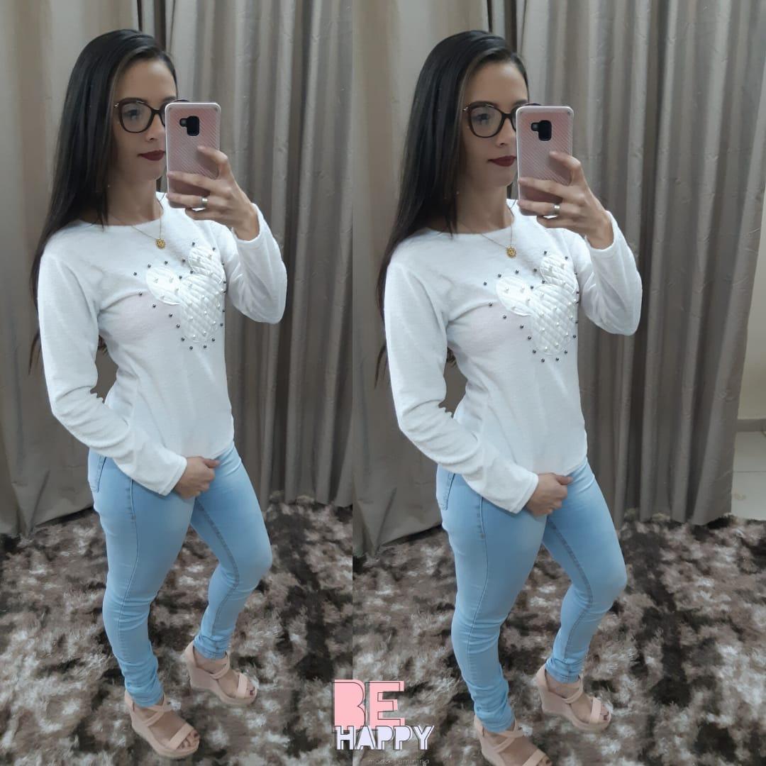 blusa moletim coração  - BE HAPPY MODA FEMININA