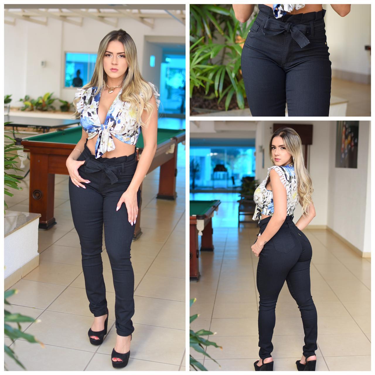 calca jeans cloechart  - BE HAPPY MODA FEMININA