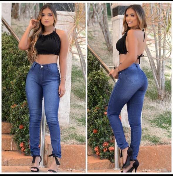 Calça Jeans com Puído