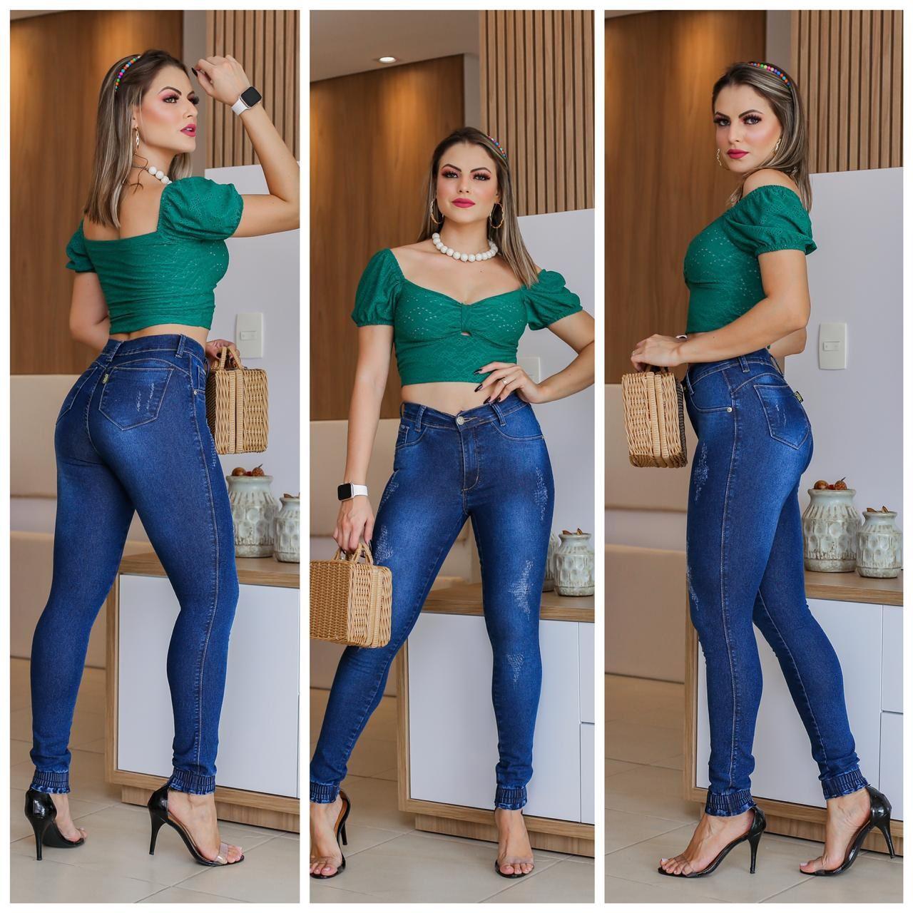 Calça Jeans com Punho