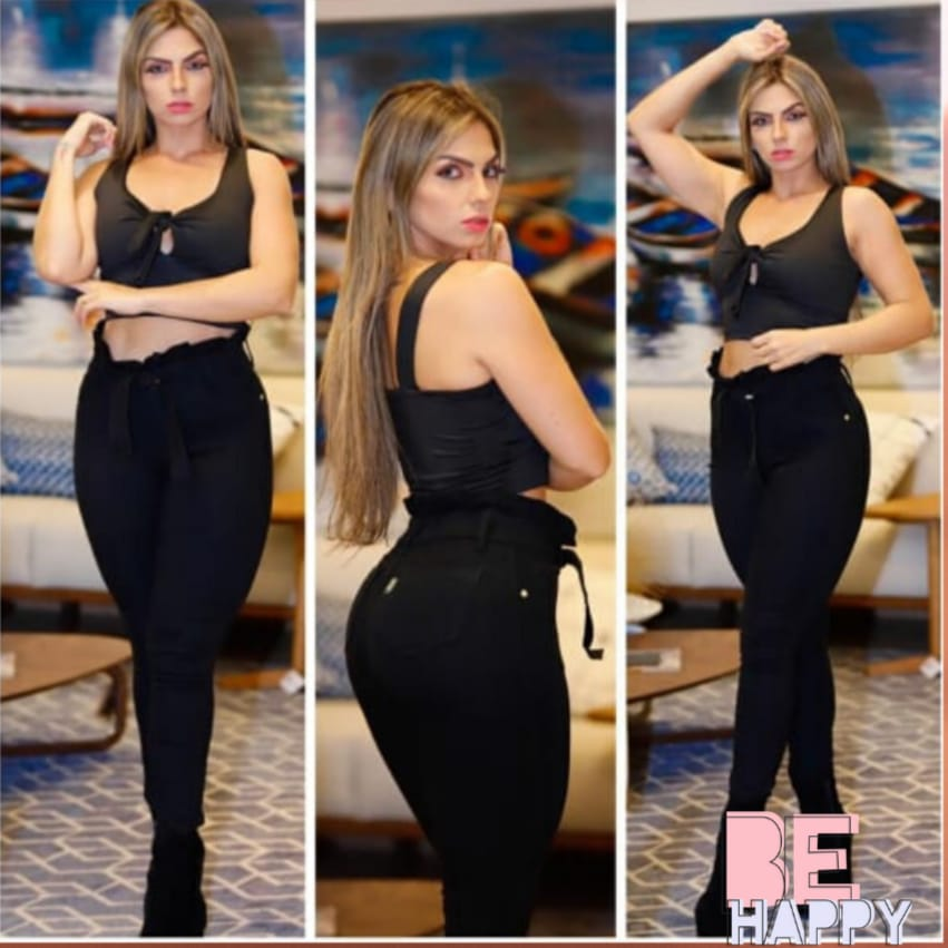 Calça Jeans  Preta Clochard