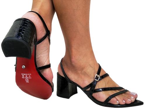 Sandália bf croco preto 5cm Cód.706