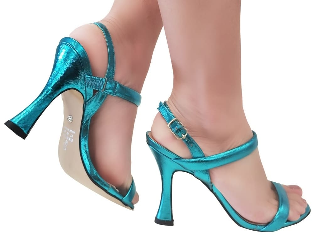 Sandália metalizado azul 9cm Cód.1111