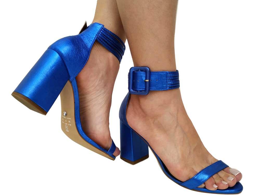 Sandália metalizado azul salto 9cm Cód.542