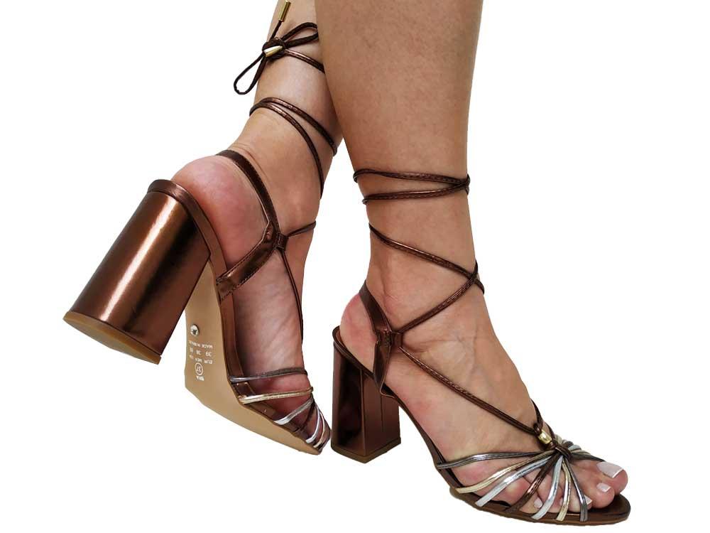 Sandália metalizado cobre 9cm Cód.561