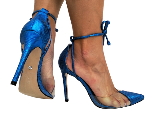 Scarpin metalizado azul salto 11cm Cód.727