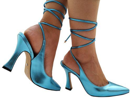 Scarpin metalizado azul salto 9cm Cód.: 750