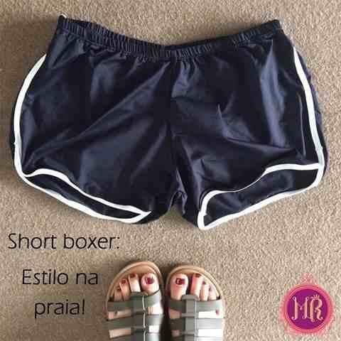 Short Boxeadora Praia Piscina Preto Listra Branca Elástico