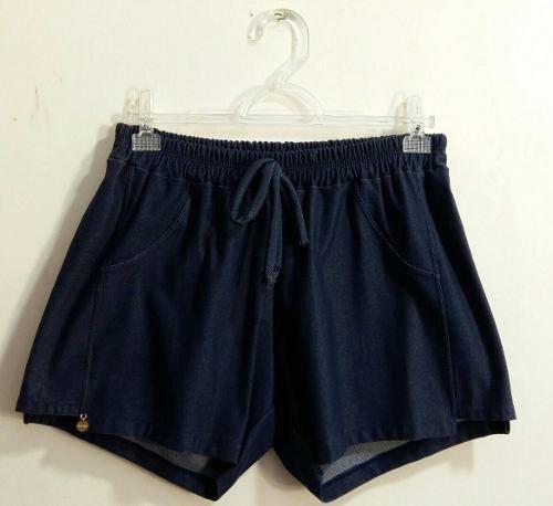 Short Jeans Saída Praia Sem Bolso Elástico Cintura Frelith