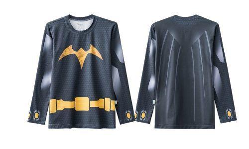 Blusa Proteção Solar Infantil Preta Batman Piscina Praia