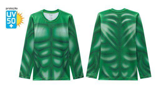 Blusa Proteção Solar Infantil Hulk Verde Marvel Músculos