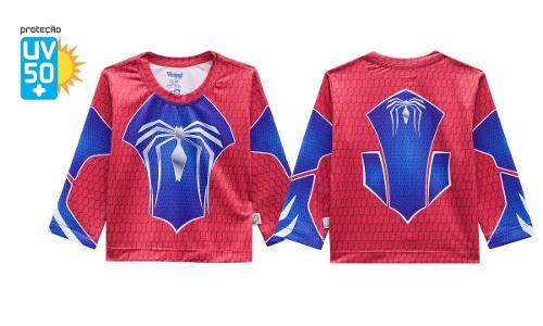 Blusa Protege Sol Spider Man Infantil Manga Longa Azul Red