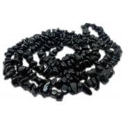 Colar De Cascalho De Pedra Turmalina Negra Natural