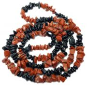 Guia Colar Exu Pedra Natural Turmalina Negra Jaspe Vermelha