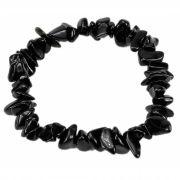 Pulseira De Cascalho De Pedra Obsidiana Negra Natural