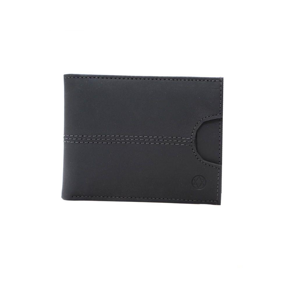 Carteira em Couro Preta com Porta Cartões Preta 410ca
