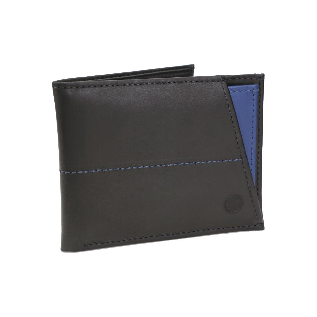 Carteira em Couro Preto com Porta Cartões Azul 410p