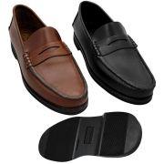 KIT 2 Sapatos Masculinos Mocassins Estilo Argentino Clássicos Sola de Borracha KIT0200