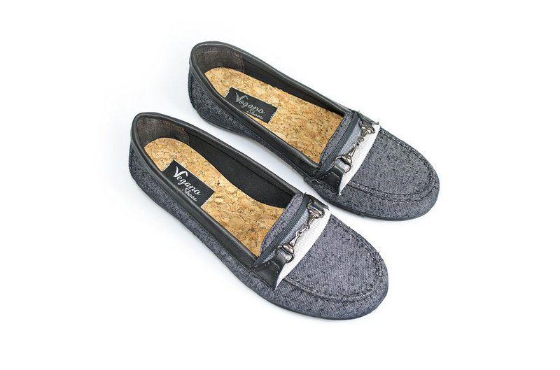 Sapato Mocassim Vegano Shoes Amarílis grafite/preto
