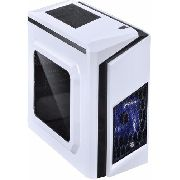 Gabinete Mid-tower White Dwarf Azul Led Lat. Acrílico Pcyes