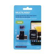 CARTÃO DE MEMÓRIA 4X1 ULTRA HIGH SPEED ATÉ 80 MB/S UHS1 16GB +ADAPTADOR SD USB DUAL MC150 CLASSE 10