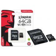 CARTÃO DE MEMÓRIA CLASSE 10 KINGSTON SDCS/64GB MICRO SDXC 64GB 80R/10W UHS-I U1 CANVAS SELECT