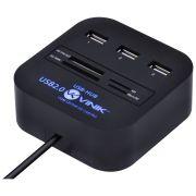 HUB USB 2.0 COM LEITOR DE CARTÃO SD, MICRO SD, MS, M2 E TF