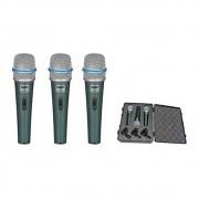 Microfone Dinâmico Pro BTM-57A - Kit 3 peças com Maleta e Cachimbo