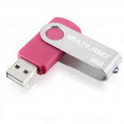 Pen drive multilaser twist 16gb usb 2.0 rosa pd688