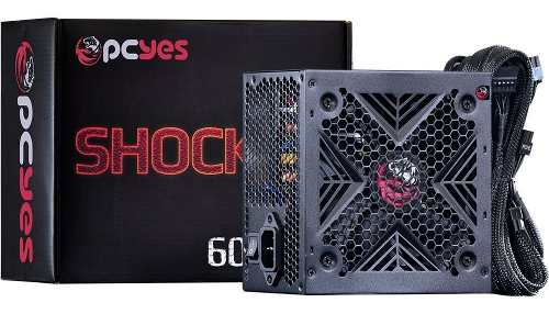 Fonte Atx Shocker Series 600w Real 80 Plus White - Pcyes
