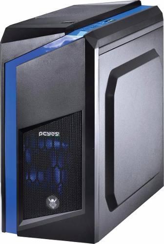 Gabinete Mid-tower Dark Dwarf Azul Led Janela Acrílico Pcyes