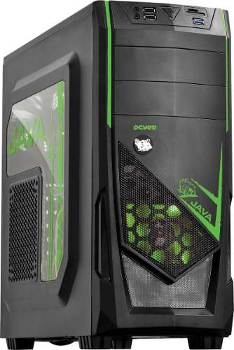 Gabinete Mid-tower Java Led Verde Lateral Em Acrílico Pcyes