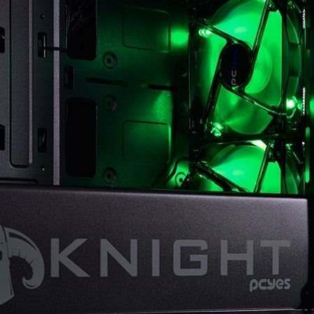 Gabinete Midtower Knight Led Verde Lateral Em Acrílico Pcyes