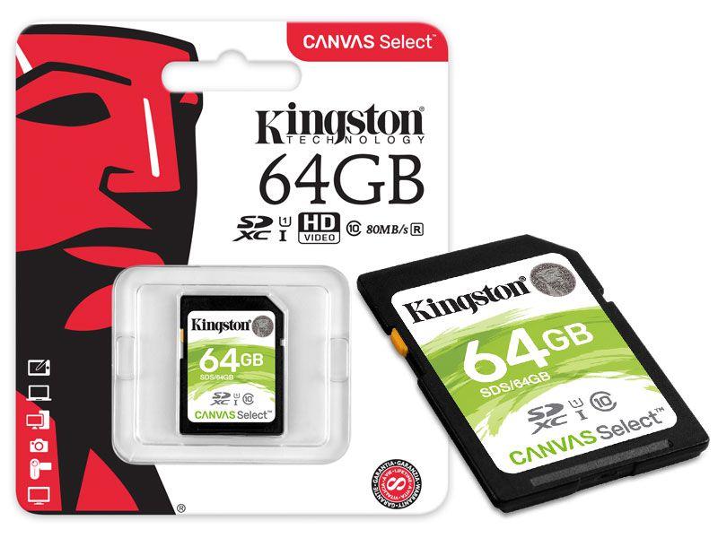 CARTÃO DE MEMÓRIA CLASSE 10 KINGSTON SDXC 64GB 80R/10W UHS-I U1 CANVAS SELECT