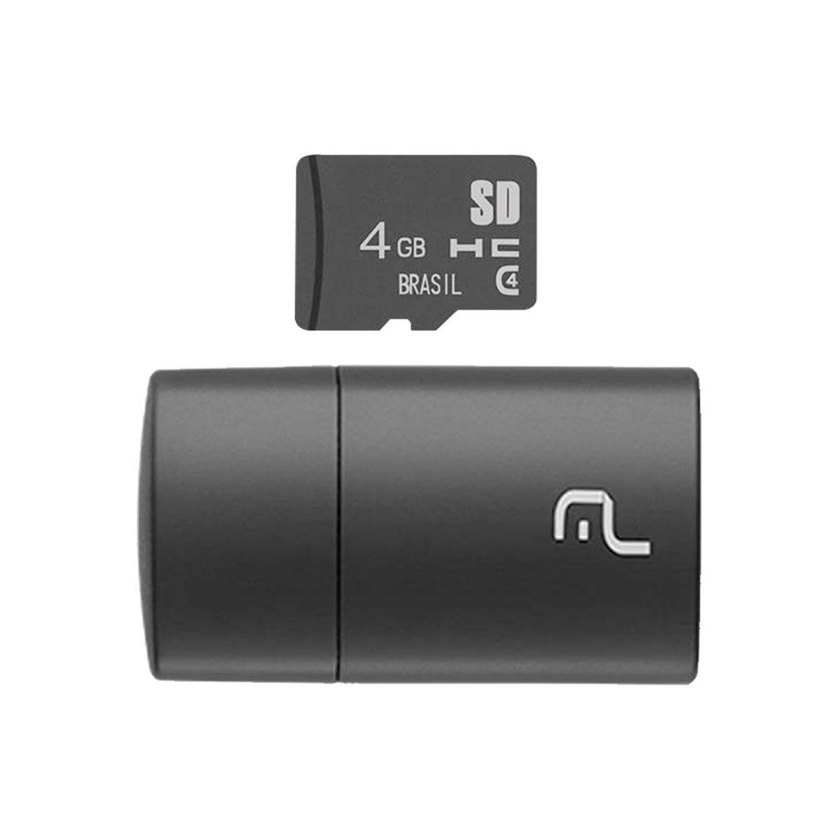 CARTÃO MICRO SD 4GB COM LEITOR USB CLASSE 4
