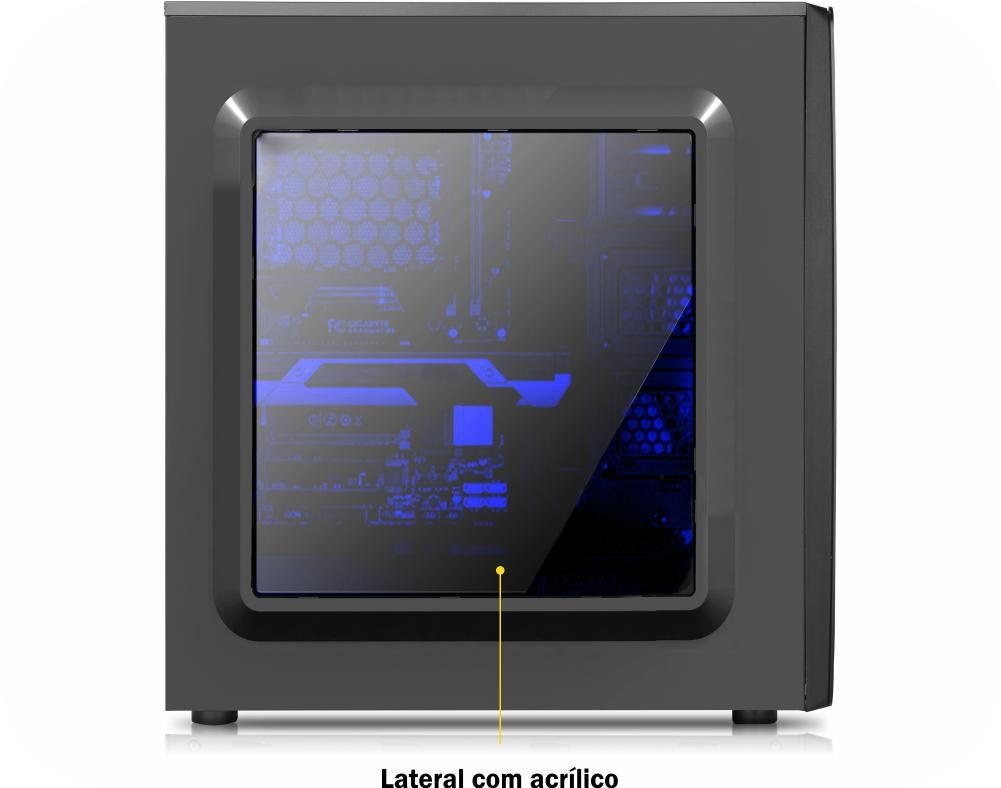 Gabinete Gamer K-Mex CG-04R8 Baia Int Lateral Transparente Sem Fonte