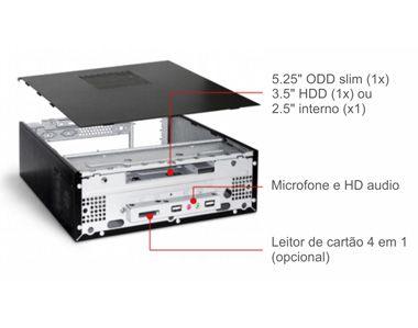 Gabinete K-Mex GI-9D89 1 Baias Slim com FONTE