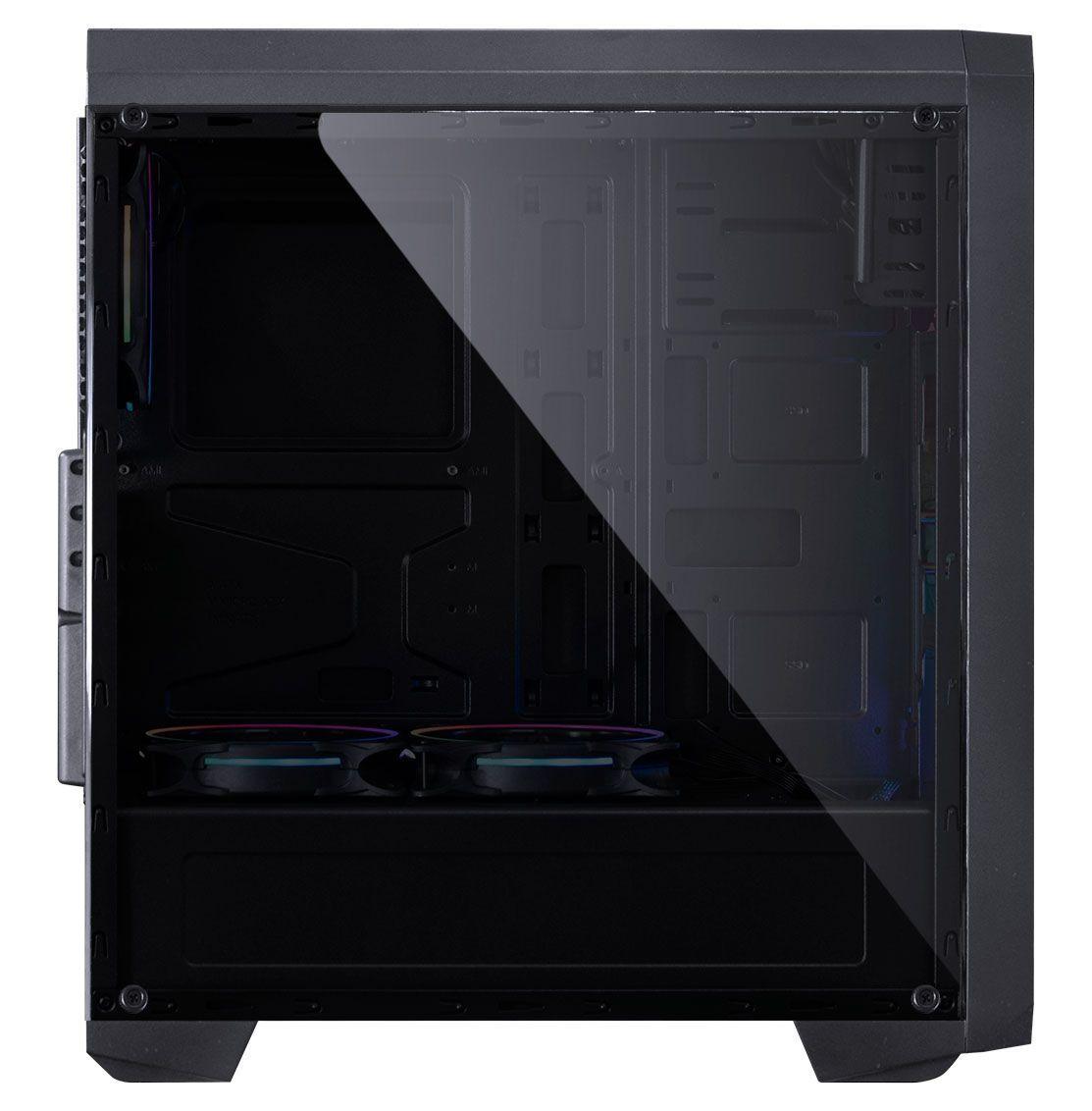 GABINETE MID-TOWER NOVA PLUS PRETO COM 3 FANS LED RGB LATERAL EM ACRÍLICO - NOVPTRGB3FCA