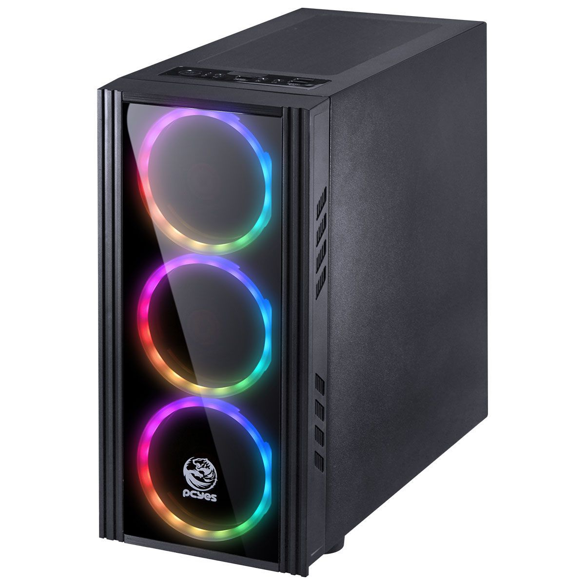 GABINETE MID-TOWER SATURN PRETO COM 3 FANS LED RGB LATERAL EM ACRÍLICO FRONTAL EM VIDRO TEMPERADO - SATPT7C3FCA