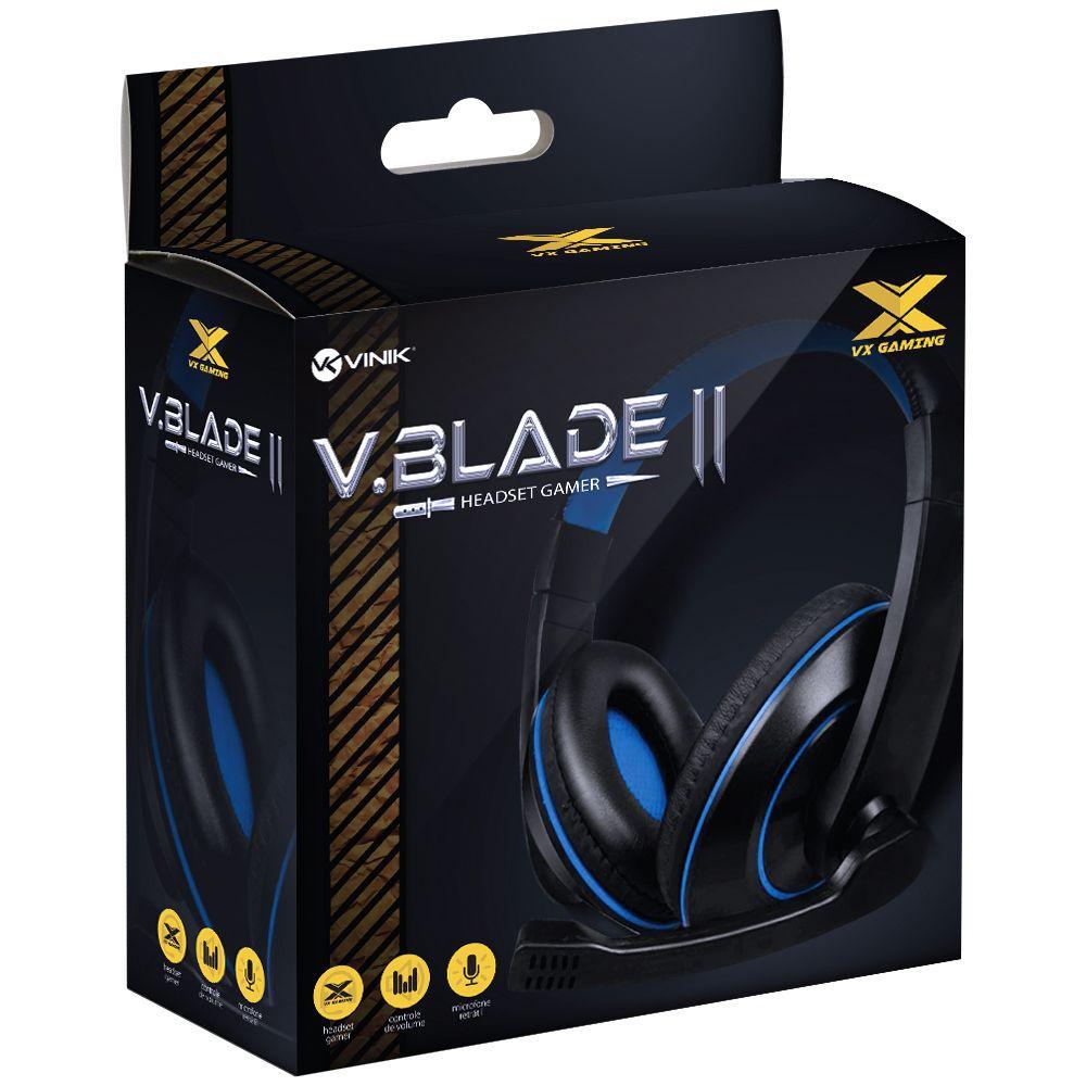 HEADSET GAMER VX GAMING V BLADE II P2 ESTÉREO COM MICROFONE RETRÁTIL E AJUSTE DE HASTE - PRETO COM AZUL