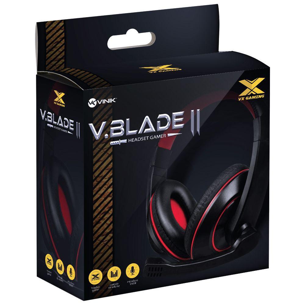 HEADSET GAMER VX GAMING V BLADE II P2 ESTÉREO COM MICROFONE RETRÁTIL E AJUSTE DE HASTE - PRETO COM VERMELHO