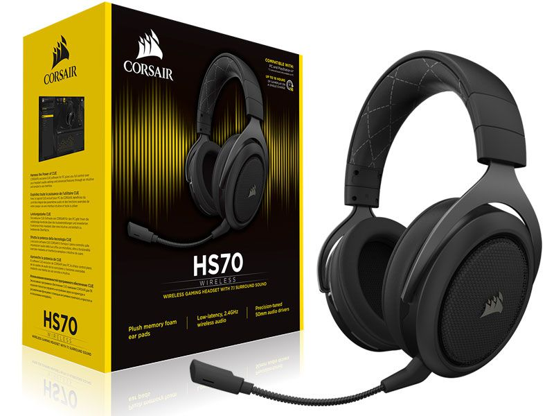 HEADSET GAMER WIRELESS CORSAIR CA-9011175-EU HS70 WIRELESS AUDIO 7.1 SURROUND CARBON