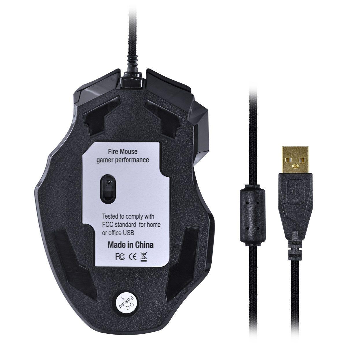 MOUSE GAMER VX GAMING BLACK WIDOW 2400 DPI AJUSTAVEL E 06 BOTÕES PRETO COM AZUL USB - GM104