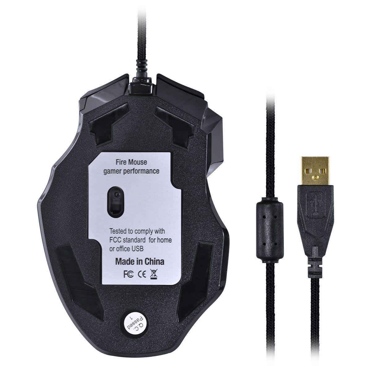 MOUSE GAMER VX GAMING BLACK WIDOW 2400 DPI AJUSTAVEL E 06 BOTOES PRETO COM VERMELHO USB - GM102