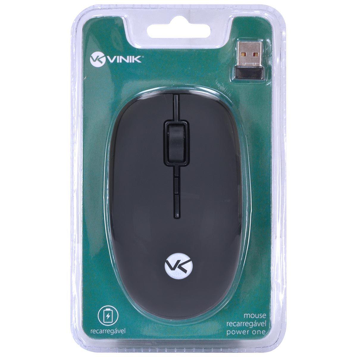 MOUSE SEM FIO RECARREGÁVEL POWER ONE 1600DPI - RECEPTOR USB - PM100