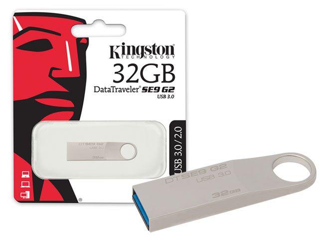 PEN DRIVE USB 3.0 KINGSTON DATATRAVELER SE9 G2 32GB PRATA