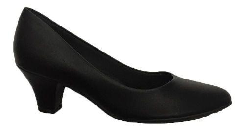 Sapato Piccadilly Salto Baixo Uniforme 703001 Feminino Preto